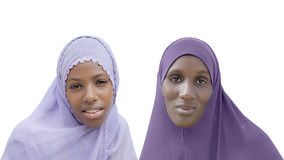 Mother and daughter wearing a veil, isolated Royalty Free Stock Photos