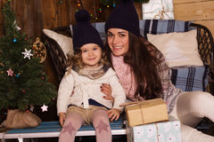 Mother and daughter wearing warm winter clother Stock Image