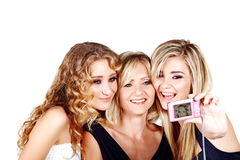 Mother and daughter on white background Royalty Free Stock Images