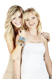 Mother and daughter on white background Stock Image