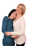 Mother and daughter on white Stock Photos