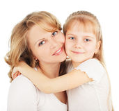Mother with daughter on white Stock Images