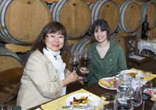 Mother and Daughter at wine tasting Stock Photography