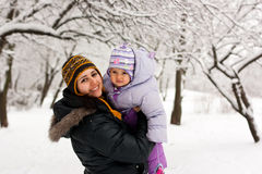 Mother and daughter in winter Stock Images