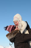 Mother with daughter in winter Stock Photography