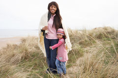 Mother And Daughter On Winter B Royalty Free Stock Photography