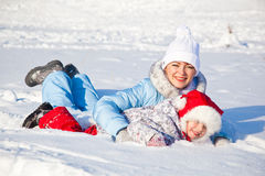 Mother and daughter in winter park Stock Image