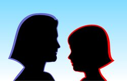 Mother and daughter. Woman with girl black faces profiles on the light background clipart Stock Photography