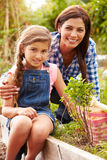 Mother And Daughter Working On Allotment Together Royalty Free Stock Photos