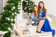 Mother and daughter with x-mas tree Stock Photography