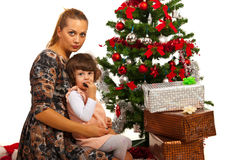 Mother and daughter with Xmas tree Royalty Free Stock Images
