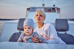 Mother, daughter on yacht or catamaran boat Royalty Free Stock Photos
