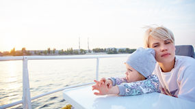 Mother, daughter on yacht or catamaran boat Royalty Free Stock Images