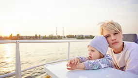 Mother, daughter on yacht or catamaran boat Stock Photo