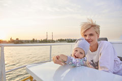 Mother, daughter on yacht or catamaran boat Royalty Free Stock Photography