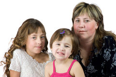 Mother with daughters. Mother with two daughters posing Stock Image
