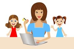 Mother with daughters is accomplished by purchases over the inte. Rnet,vector illustration Royalty Free Stock Photo