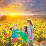 Mother and daughters on autumn vineyard smiling holding grape Royalty Free Stock Photos