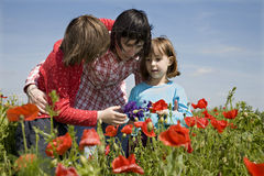 Mother and daughters in the corn poppy Royalty Free Stock Photo