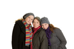 Mother daughters cuddle winter clothes Royalty Free Stock Images