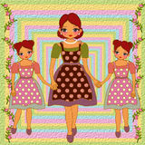 Mother and daughters. Mom and daughter illustration in rough paper effect vintage retro style Stock Photo