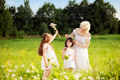 Mother and daughters relaxing on the meadow Stock Photos