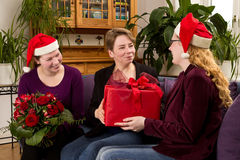 Mother daughters santa claus hats Stock Image