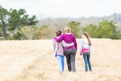 Mother Daughters Walking Nature Parks Stock Photo