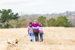 Mother Daughters Walking Nature Parks Stock Photos