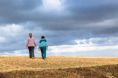Mother Daughters Walking Nature Parks Stock Image