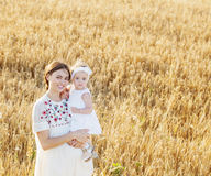 Mother and daugther in field Royalty Free Stock Photo