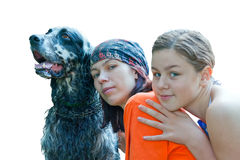 Mother , dauhter and dog Royalty Free Stock Image