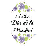 Mother Day banner decorated hand drawn meadow flowers. Lettering title in Spanish Stock Image
