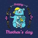 Mother Day card with bear characters. Stock Images