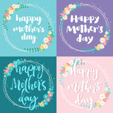 Mother day colorful cards set. Happy mother day greeting cards set. Simple cute wreaths and hand lettering text on colored background Stock Images