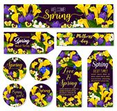 Mother Day flower tag for Spring Season Holiday. Celebration template. Calla lily, crocus and pansy flower, blooming jasmine branch and green leaf of garden Royalty Free Stock Photography