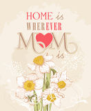 Mother day greeting card with delicate narcissus Royalty Free Stock Images