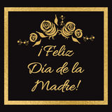 Mother Day  greeting card. Romantic frame in golden color with roses. Lettering title in Spanish Stock Images