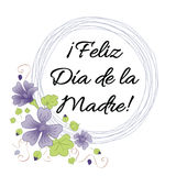 Mother Day greeting card. Romantic wreath decorated flowers. Lettering title in Spanish Royalty Free Stock Photo