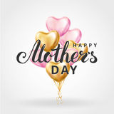 Mother day heart gold balloons. Mother letter heart gold pink balloons background. Happy mother day gold balloons. Balloon design for greeting card, flyer poster Stock Photography
