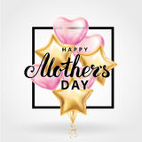 Mother day heart gold balloons. Mother letter heart gold pink balloons background. Happy mother day gold balloons. Balloon design for greeting card, flyer poster Stock Image