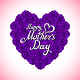 Mother Day Heart Made of violet Roses.  bouquet of violet roses heart isolated on white background. pink rose mother Day Heart  Royalty Free Stock Photo