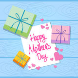 Mother Day Holiday, Greeting Card With Gift Present Box Wooden Texture Background Top Angle View Royalty Free Stock Photo