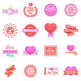 Mother Day icons set, cartoon style Stock Images