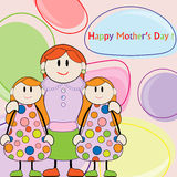 Mother day.Mom with daughters twins. Mom with daughters twins greeting card Stock Photo