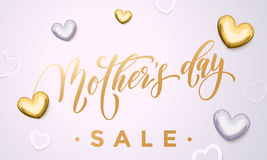Mother Day Sale poster or web banner with vector hearts Royalty Free Stock Photo
