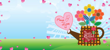 Mother day sewing hexagon love banner Royalty Free Stock Photo