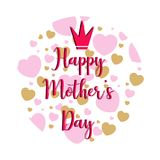 Mother day. Text and hearts Royalty Free Stock Photo
