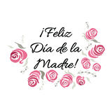 Mother Day vector greeting card. Pink floral pattern background. Hand drawn lettering title in Spanish Royalty Free Stock Image
