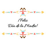 Mother Day vector lettering element title in Spanish with cute hand drawn frame and girl Stock Images